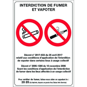 PANCARTE INTERDICTION DE FUMER ET VAPOTER