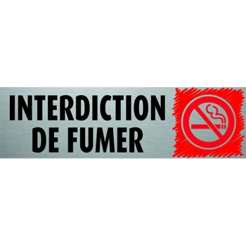 PLAQUE PVC ALU - ''INTERDICTION DE FUMER''